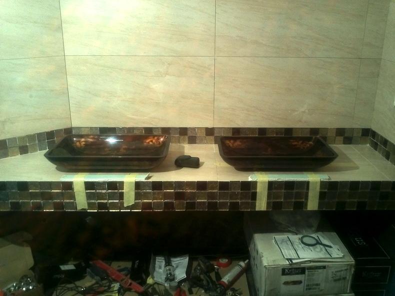 Установка раковин  в санузле