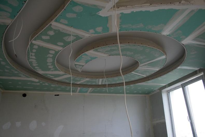 Монтаж конструкции из гипсокартона на потолке