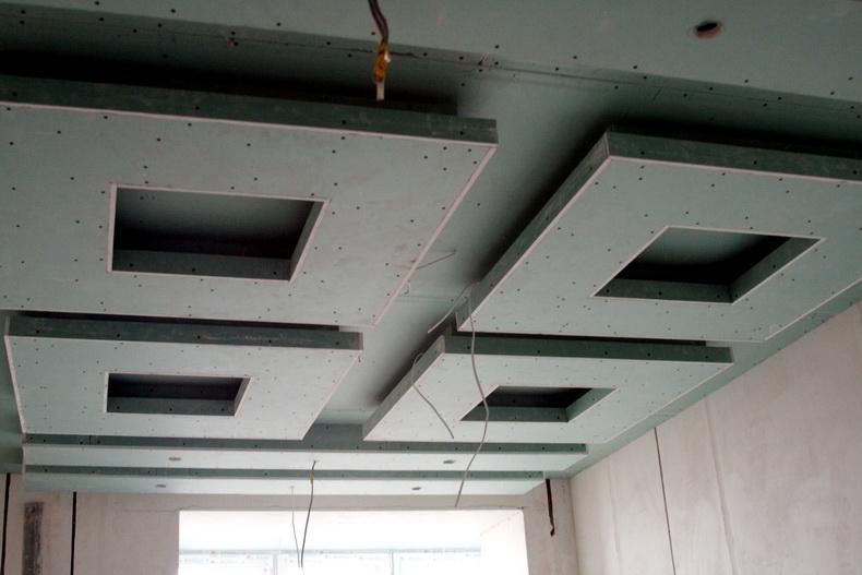 Монтаж гипсокартонного потолка в кабинете