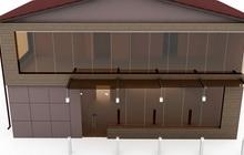 Дизайн фасада двухэтажной пристройки к ресторану