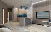 Дизайн интерьера кухни-студии в современном стиле