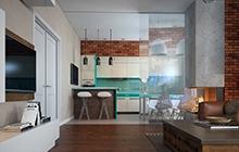 Интерьер квартиры в современном стиле с элементами лофта