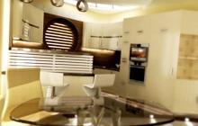 Интерьер частного дома, дизайн кухни-столовой