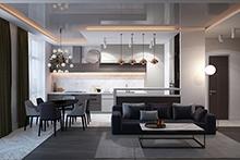 Дизайн интерьера квартиры в ЖК.  «Пятнадцатая Жемчужина»