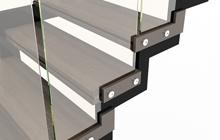 лестницы с ограждением из закаленного стекла