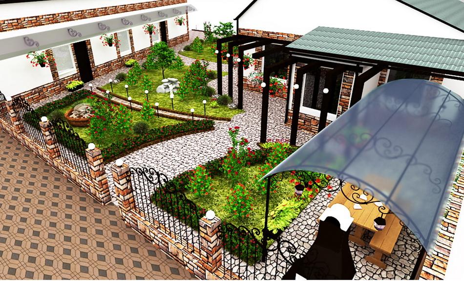 Отделка двора частного дома фото