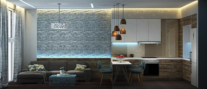 дизайн интерьера фото кухня-студия