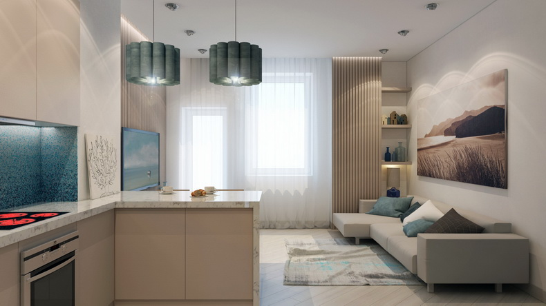 Дизайн интерьера кухня студия