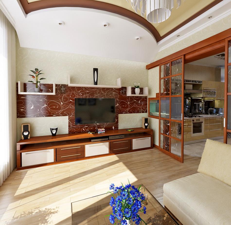 Дизайн гостиной кухни в частном доме